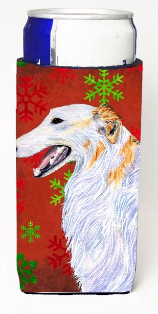Borzoi Red And Green Snowflakes Holiday Christmas Michelob Ultra bottle sleeves For Slim Cans - 12 oz.