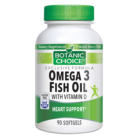 Botanic Choice Omega 3 Fish Oil with Vitamin D Dietary Supplement Softgels - 90.0 ea