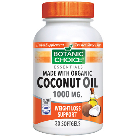 Botanic Choice Organic Coconut Oil 1000 mg Herbal Supplement Softgels - 30.0 ea.