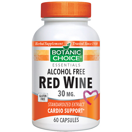Botanic Choice Red Wine 30 mg Herbal Supplement Capsules - 60.0 Each