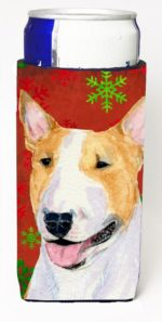 Bull Terrier Red And Green Snowflakes Holiday Christmas Michelob Ultra bottle sleeves For Slim Cans - 12 oz.