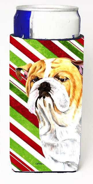 Bulldog English Candy Cane Holiday Christmas Michelob Ultra bottle sleeves For Slim Cans - 12 oz.