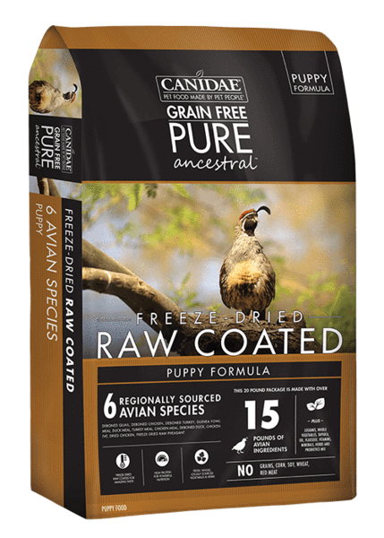 CD01843 Pure Ancestral Grain Free Avian Puppy Recipe with Quail, Chicken, & Turkey Raw Coated Dry Dog Food - 4 lbs