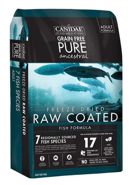 CD01855 Pure Ancestral Grain Free Fish Formula with Salmon, Mackerel, & Pacific Whiting Raw Coated Dry Dog Food - 4 lbs