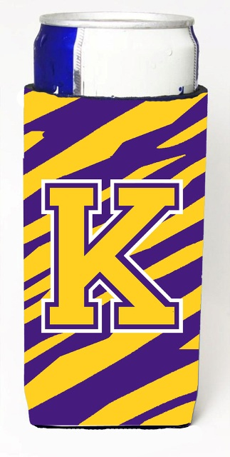 CJ1022-KMUK Tiger Stripe - Purple Gold Monogram Letter K Michelob Ultra s For Slim Cans