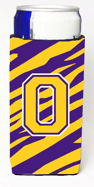 CJ1022-OMUK Tiger Stripe - Purple Gold Monogram Letter O Michelob Ultra s For Slim Cans
