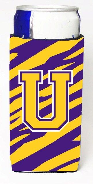 CJ1022-UMUK Tiger Stripe - Purple Gold Monogram Letter U Michelob Ultra s For Slim Cans