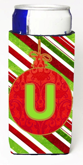 CJ1039-UMUK Christmas Ornament Holiday Monogram Initial Letter U Michelob Ultra s For Slim Cans
