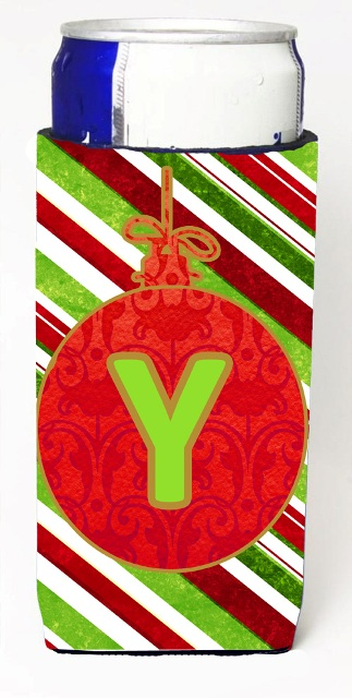 CJ1039-YMUK Christmas Ornament Holiday Monogram Initial Letter Y Michelob Ultra s For Slim Cans