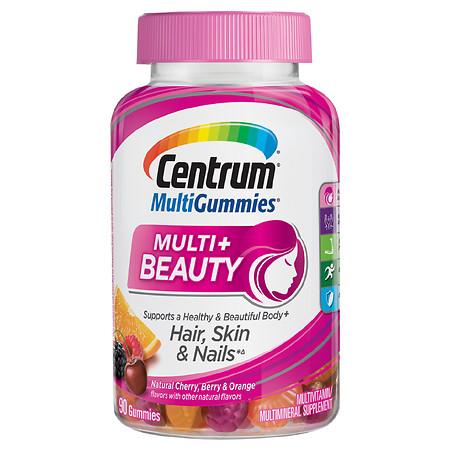 Centrum Multi Gummies Multi+ Beauty Multivitamin & Multimineral Supplement Natural Cherry, Berry, & Orange - 90.0 ea