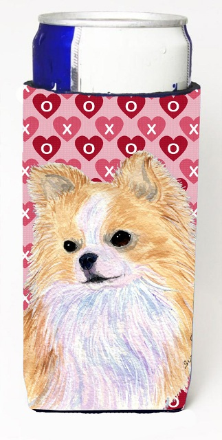 Chihuahua Hearts Love And Valentines Day Portrait Michelob Ultra bottle sleeves For Slim Cans - 12 oz.