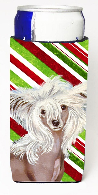 Chinese Crested Candy Cane Holiday Christmas Michelob Ultra bottle sleeves For Slim Cans - 12 oz.