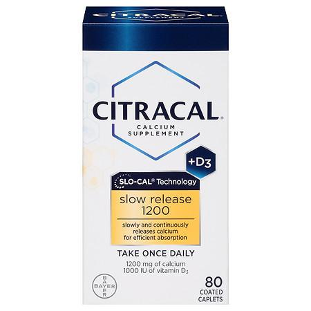 Citracal Slow Release 1200 Calcium+D Dietary Supplement Coated Tablets - 80.0 ea