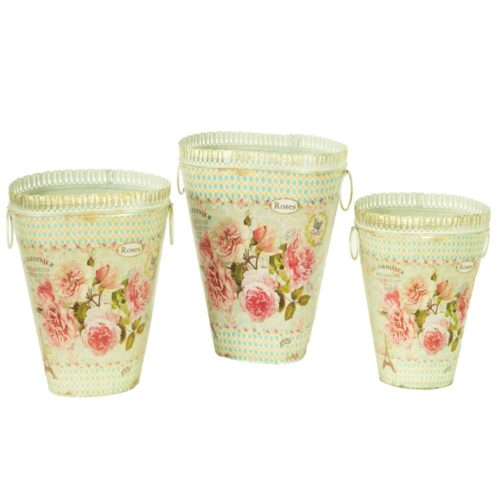 DMMV743-S3 French Country Planters Vintage Metal Decorative Vases & Flower Pots - Set of 3