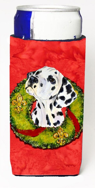 Dalmatian Christmas Wreath Michelob Ultra bottle sleeves For Slim Cans - 12 oz.