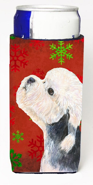 Dandie Dinmont Terrier Red Green Snowflakes Christmas Michelob Ultra bottle sleeves For Slim Cans - 12 oz.