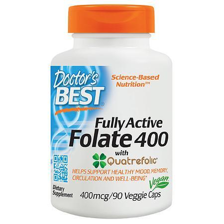 Doctor's Best Fully Active Folate 400 mcg Veggie Caps - 90.0 ea