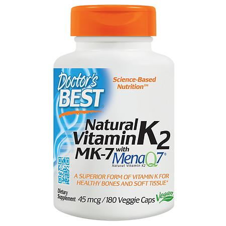 Doctor's Best Natural Vitamin K2 with MenaQ7 Veggie Caps - 180.0 ea