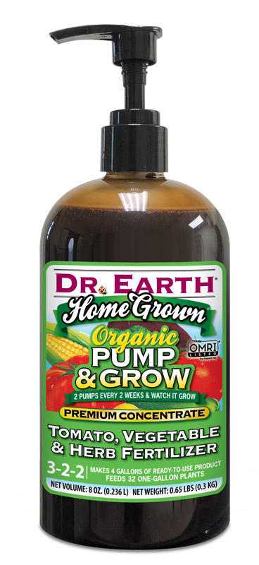 Dr. Earth 7002329 8 oz Home Grown Pump & Grow Organic 3-2-2 Tomato & Vegetable Fertilizer