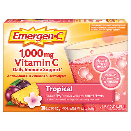 Emergen-C Daily Immune Support Drink with 1000 mg Vitamin C, Antioxidants, & B Vitamins - 0.32 oz x 30 pack