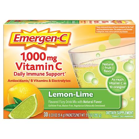 Emergen-C Daily Immune Support Drink with 1000 mg Vitamin C, Antioxidants, & B Vitamins - 0.33 oz x 30 pack