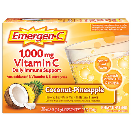 Emergen-C Daily Immune Support Drink with 1000 mg Vitamin C, Antioxidants, & B Vitamins Coconut Pineapple - 0.32 oz x 30 pack