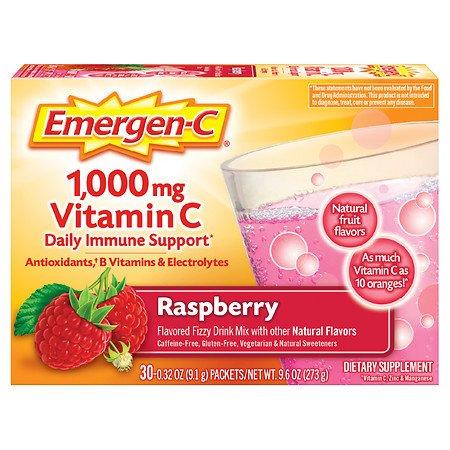 Emergen-C Daily Immune Support Drink with 1000 mg Vitamin C, Antioxidants, & B Vitamins Raspberry - 0.32 oz x 30 pack