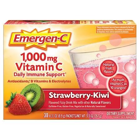 Emergen-C Daily Immune Support Drink with 1000 mg Vitamin C, Antioxidants, & B Vitamins Strawberry-Kiwi - 0.31 oz x 30 pack