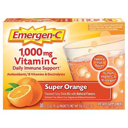 Emergen-C Daily Immune Support Drink with 1000 mg Vitamin C, Antioxidants, & B Vitamins Super Orange - 0.32 oz x 30 pack