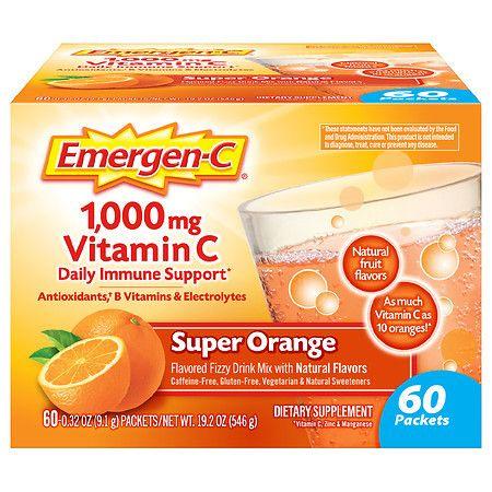 Emergen-C Daily Immune Support Drink with 1000 mg Vitamin C, Antioxidants & B Vitamins Super Orange - 0.32 oz x 60 pack