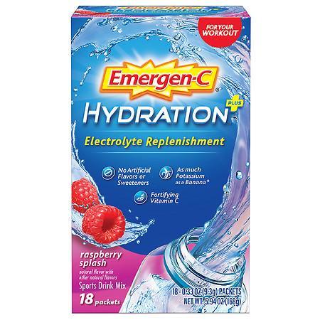 Emergen-C Hydration Plus Electrolyte Replenishment Sports Drink Mix Raspberry Splash - 18.0 ea