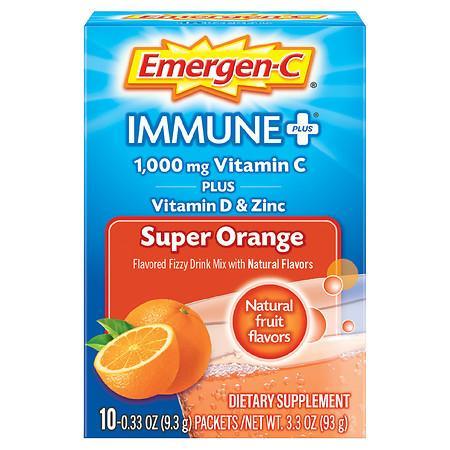 Emergen-C Immune+ Drink Mix with 1000 mg Vitamin C Plus Vitamin D & Zinc - 0.33 oz x 10 pack