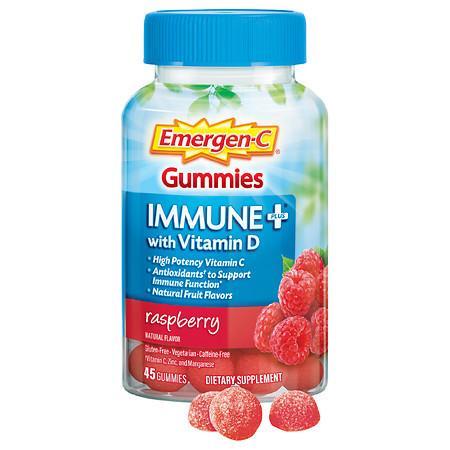Emergen-C Immune+ Gummies with 500 mg Vitamin C Plus Vitamin D & Zinc Raspberry - 45.0 ea