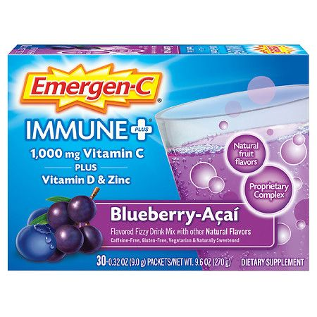 Emergen-C Immune+ System Support Dietary Supplement Fizzy Drink Mix With Vitamin D - 0.32 oz x 30 pack