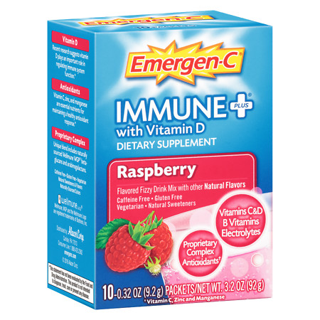 Emergen-C Immune+ System Support Dietary Supplement Fizzy Drink Mix With Vitamin D 10pk - 0.32 oz
