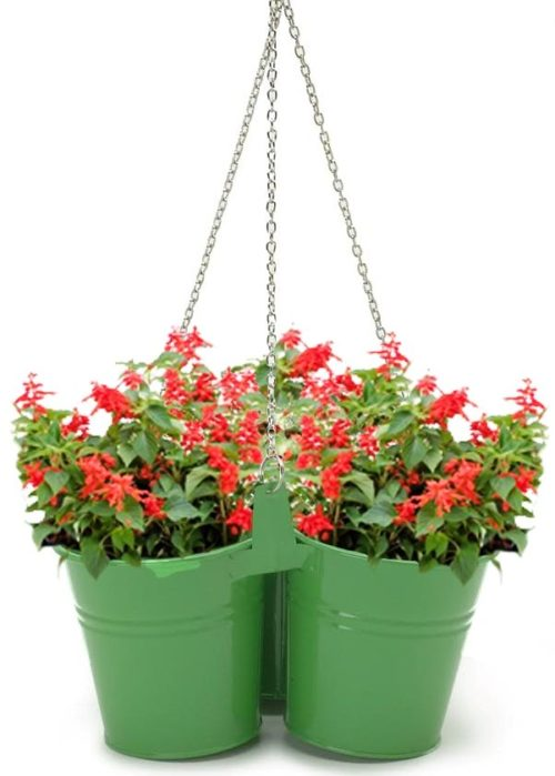 Enameled Galvanized Hanging 3 Planter Unit for 5.5 in. Plants, Sage