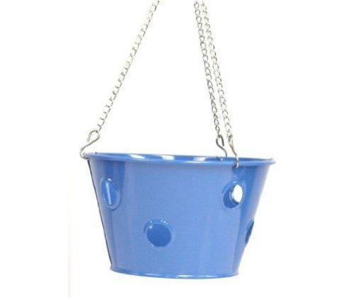 Enameled Galvanized Hanging Strawberry, Herb, Floral Planter - Blue