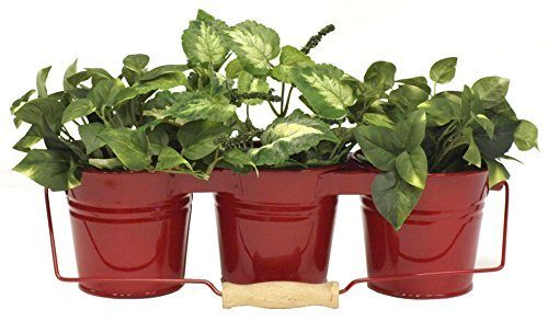 Enameled Galvanized Triple Planter, Red