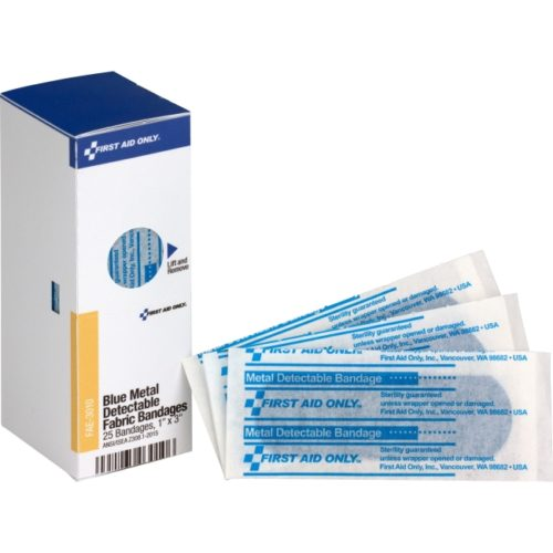 FAOFAE3010 1 x 3 in. Metal Detectable Bandages, Fabric - Blue