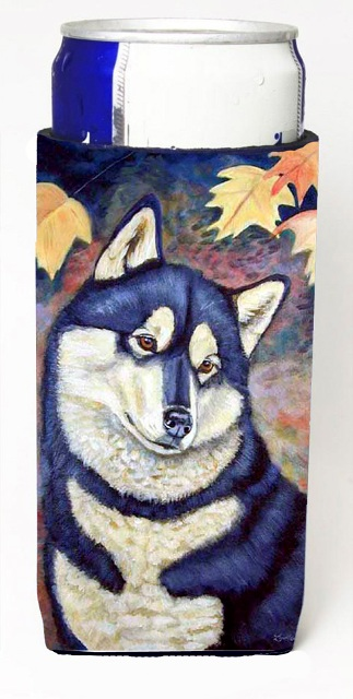 Fall Leaves Siberian Husky Michelob Ultra bottle sleeves For Slim Cans - 12 oz.