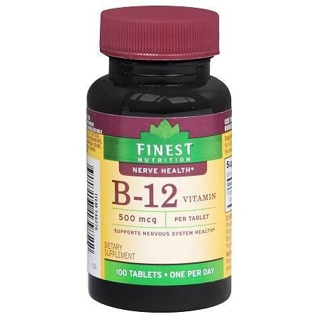 Finest Nutrition B-12 Vitamin 500 mcg Dietary Supplement Tablets - 100.0 ea