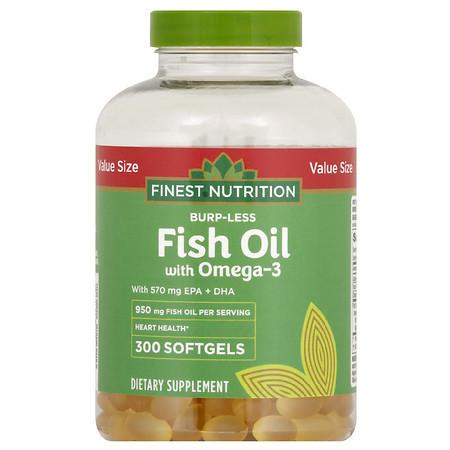 Finest Nutrition Burp-Less Fish Oil 950 mg with 600 mg of Omega 3 Softgels - 300.0 ea