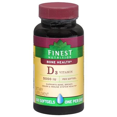 Finest Nutrition D3 Vitamin 125 MCQ Dietary Supplement Softgels - 100.0 ea