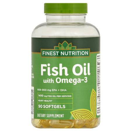 Finest Nutrition Fish Oil 1400 mg with 900 mg of Omega-3 Softgels - 90.0 ea