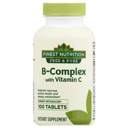 Finest Nutrition Free & Pure B-Complex with Vitamin C - 100.0 EA