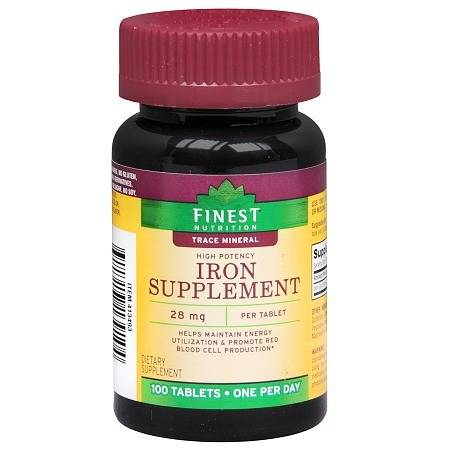 Finest Nutrition Iron Supplement 28mg, Tablets - 100.0 ea