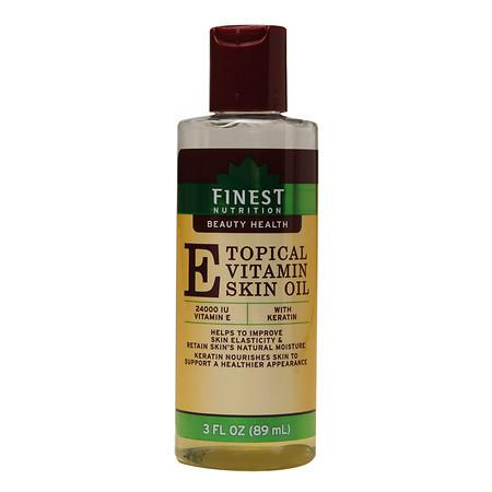 Finest Nutrition Topical Vitamin E Skin Oil with Keratin - 3.0 oz.