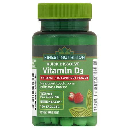 Finest Nutrition Vitamin D3 125 mcg Quick Dissolve Strawberry - 100.0 ea