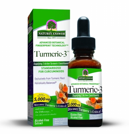 Frontier Natural Products 229118 Natures Answer Liquid Herbal Extracts Turmeric 3 Alcohol-Free Singles 1 Oz.
