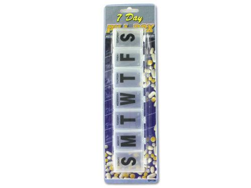 "GH136-24 9 1/8"" x 2"" x 1"" Plastic 7-Day Pill Box - Case of 24"